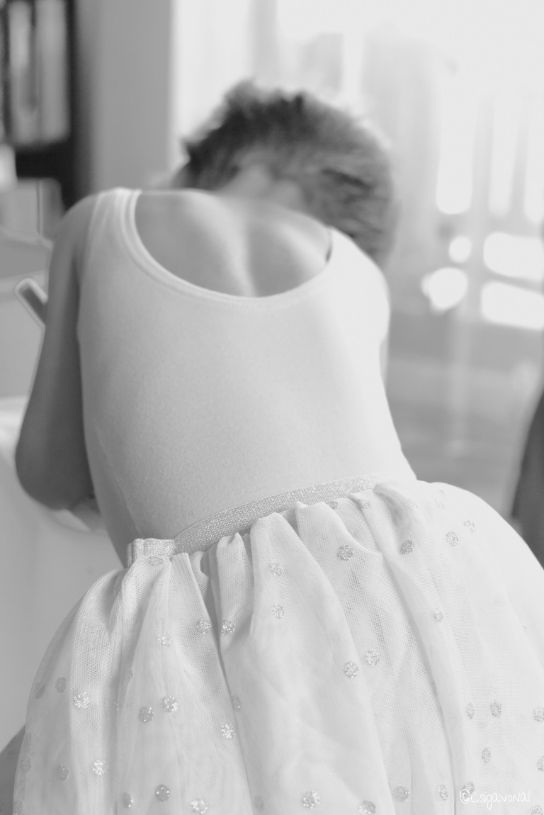 Black and white child photography: little girl dressed as Fairy